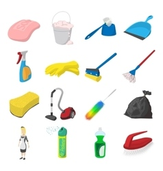 Cleaning cartoon icons vector