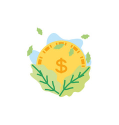 Coin money with leafs nature vector
