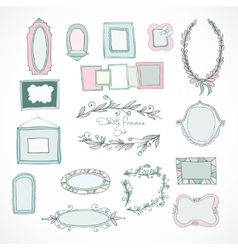 collection doodle frames for wedding vector image