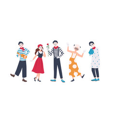 Collection of male and female mimes isolated vector