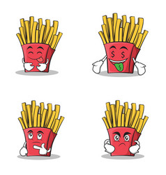 Collection stock french fries cartoon character vector