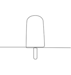 continuous line ice lolly or ice cream one line vector image