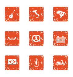 Country pleasure icons set grunge style vector