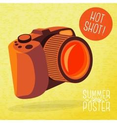 cute summer poster - photo camera shots vector image