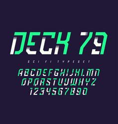 Deck 79 futuristic industrial display typeface vector