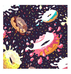 delicious donuts wallpaper on white background vector image