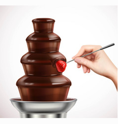 Dip strawberry into chocolate fountain composition vector