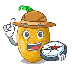 Explorer sweet honeydew melon on bowl cartoon vector