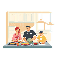Family cooking food at kitchen vegetables eggs and vector