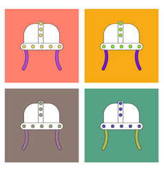 Flat icon design collection ancient helmet vector