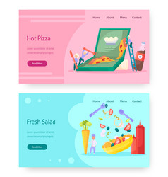 food website landing page template set vector image