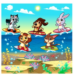 Funny animals surfing on the sea vector image