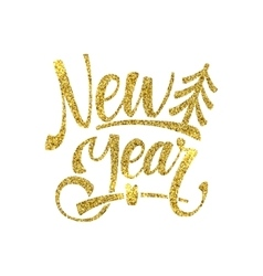 Gold Happy New Year Card Golden Shiny Glitter vector