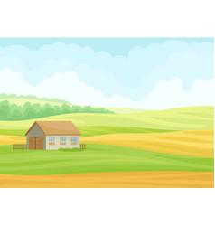 Gray stone barn in meadow vector