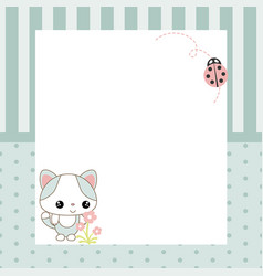 Greeting card with cartoon cat greeting card with vector