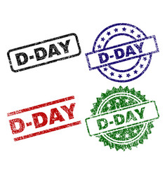 Grunge textured d-day seal stamps vector