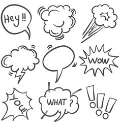 Hand draw text balloon doodle set vector