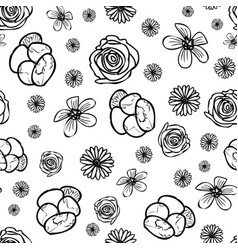 hand drawn garden flower doodle seamless pattern vector image
