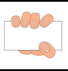 Hand hold paper card vector image