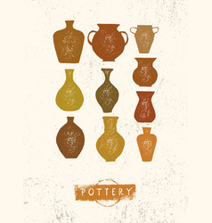 handmade clay pottery workshop artisanal creative vector image