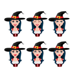 happy halloween face expressions of sexy witch vector image