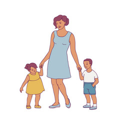happy mother standing with two baby vector image