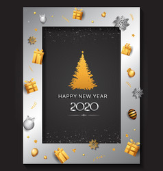 Happy new year 2020 silver color with pine tree vector