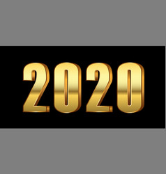 Happy new year background gold 3d number 2020 vector