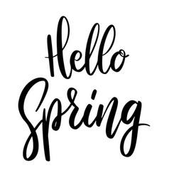 Hello spring lettering phrase on white background vector