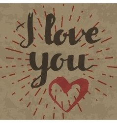 I love you inscription on retro background vector image