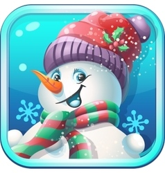 Icon jolly snowman in cap for computer game vector image