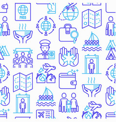 Immigration seamless pattern with thin line icons vector