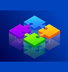 isometric four color piece jigsaw puzzle together vector image
