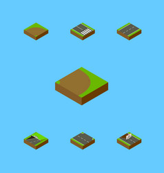 Isometric road set of rightward subway repairs vector