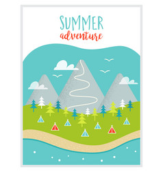 lake mountains woods and campsite or campground vector image