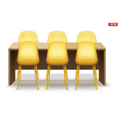Large dinner table with chairs vector