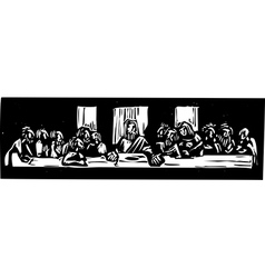 Last Supper Woodcut vector image