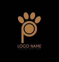 letter p paw logo icon logo symbols vector image