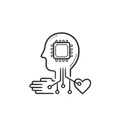 machine learning hand drawn outline doodle icon vector image
