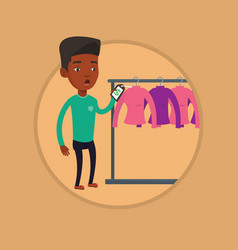 man shocked by price tag in clothing store vector image