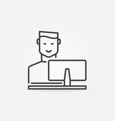 Man working on computer concept outline vector