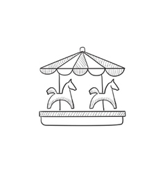Merry-go-round with horses sketch icon vector image