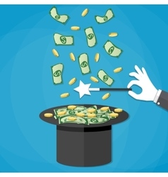 Money coming out of the magician hat vector