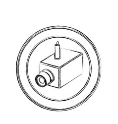 Monochrome sketch of interior video security vector