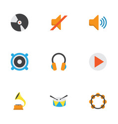 Music flat icons set collection of loudspeaker vector