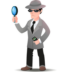 Mystery shopper man in spy coat vector