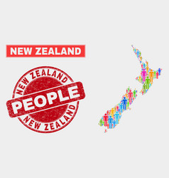 New zealand map population people and corroded vector