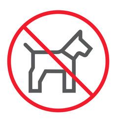 No dog line icon prohibition and forbidden vector