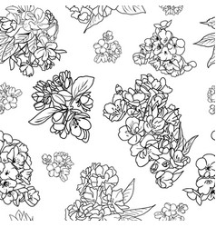 pattern of cherry and apple tree blossom and vector image