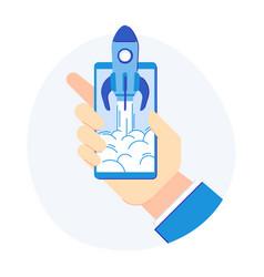 phone startup concept cellphone rocketship vector image